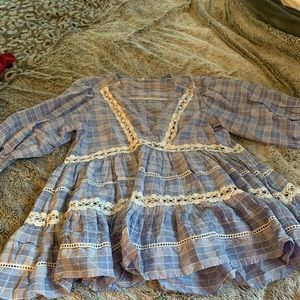 Blue and white gingham Free People Dress